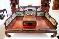 紫檀镶嵌珐琅罗汉床