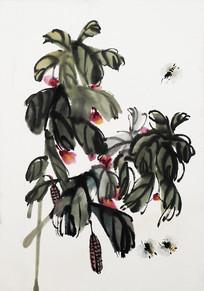 齐白石树与蜜蜂图