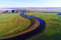 航拍草原之河