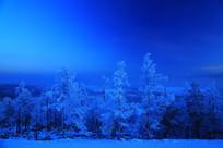 月光下蓝色的山林雾凇