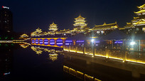 河边的古建筑夜景