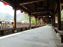 长廊走廊木质结构亭子建筑
