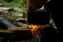 茶园野餐的柴火