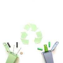 垃圾桶和回收标志