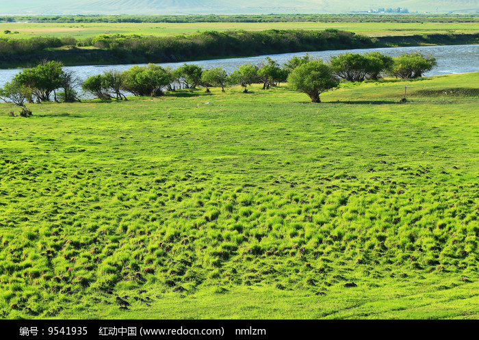 牧场河流湿地草甸图片