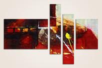 抽象油画四联组合画