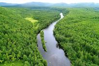 航拍阿巴河流域茫茫绿色林海