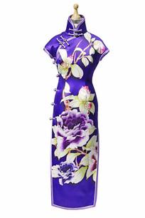 蓝色立领印花短袖旗袍