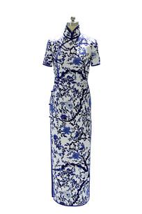 蓝色印梅花短袖旗袍