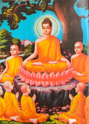 佛陀收徒神话故事插画