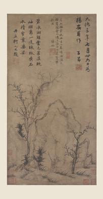 赵孟頫\疏林秀石图