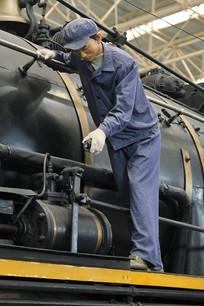 火车司机蜡像