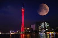 月亮下广州塔夜景