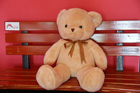 靠背椅上的毛绒小熊