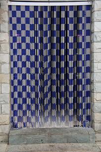 蓝白珠串门帘
