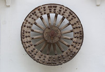 老物件乳钉木质马车车轮