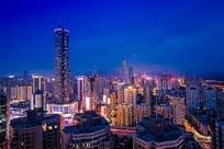 深圳罗湖区的城市楼群夜景