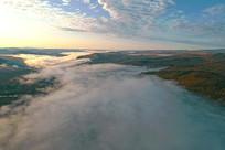 航拍山岭云雾风景