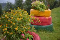 文艺范轮胎里的花卉
