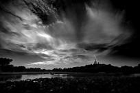 黑白摄影北海公园