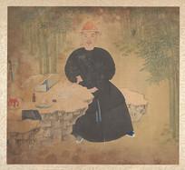清佚名男性肖像画