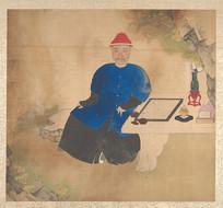 清佚名肖像册-下棋的清朝男性