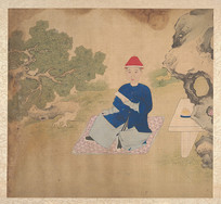 清佚名肖像册-席地而坐的清朝人