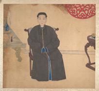 清佚名肖像册-椅子上的清朝女性