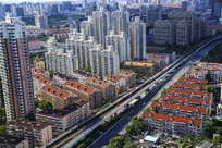 高空看城区建筑
