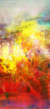 红红火火抽象油画