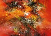 极简风格玄关抽象油画