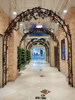 商场拱形鲜花铁架子通道