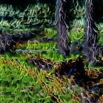 抽象丛林火焰油画海报