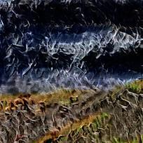 抽象峡谷火焰油画海报