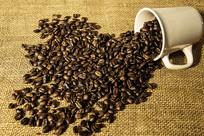 麻布上的咖啡豆