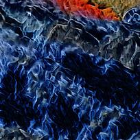 别墅玄关蓝色火焰油画