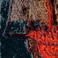 抽象复古饰品装饰火焰油画