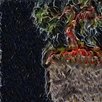 抽象复古图腾品装饰火焰油画