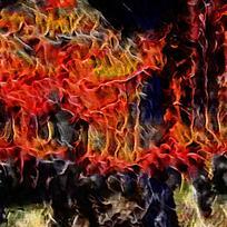 抽象火焰中的宫殿装饰油画
