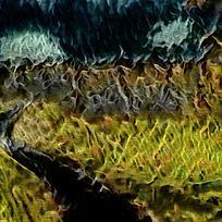 抽象绿色峡谷装饰油画