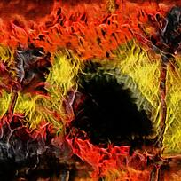 酒吧炫彩装饰火焰油画