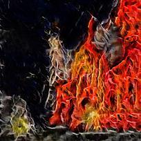卧室抽象大气装饰火焰油画