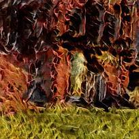 卧室抽象艺术装饰火焰油画