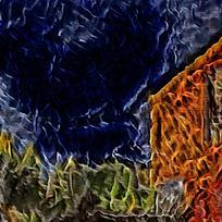 抽象田园小屋餐厅装饰油画