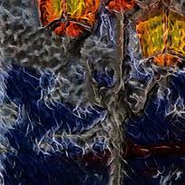 抽象街灯酒店装饰油画