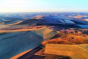 航拍秋天金色的田野