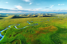 呼伦贝尔草原河流风景