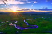 呼伦贝尔草原河流色日落风景