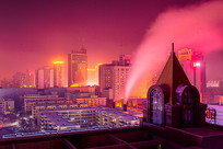 城市冬季夜景