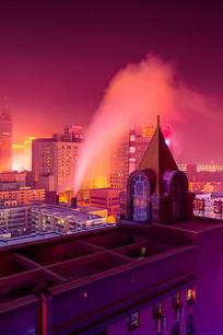 城市楼顶夜景